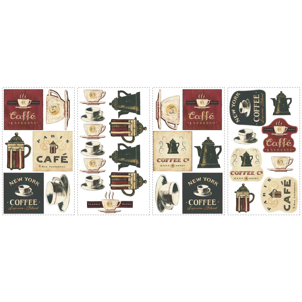 Inspired by Color by York Wallcoverings RMK1254SCS Border Book Coffee House Appliques