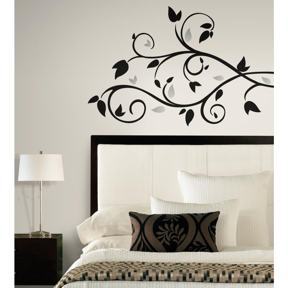 Inspired by Color by York Wallcoverings RMK1799SCS Border Book Scroll Branch Foil Leaves Decal