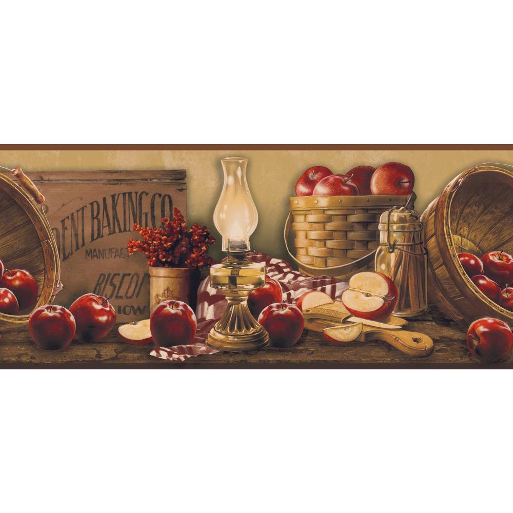 Inspired by Color by York Wallcoverings KE4914BD Border Book Apple Basket Border
