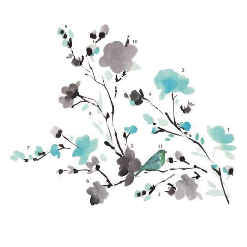 RoomMates by York  RMK2687SCS Blossom WaterColor Bird Branch Peel and Stick Wall Decals in Multi