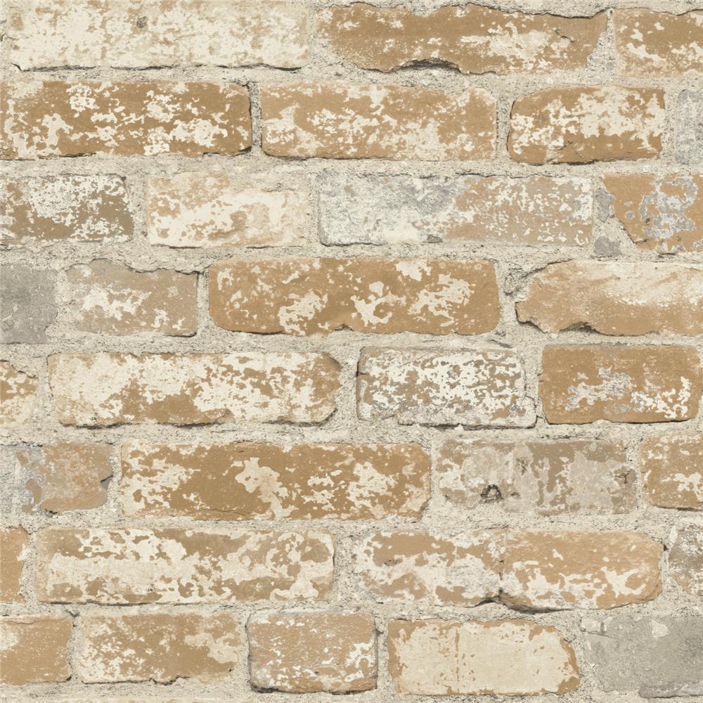 Roommates by York RMK9037WP Stuccoed Brown Brick Peel and Stick Decor