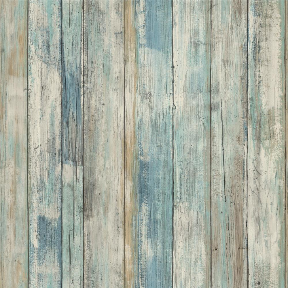 Roommates by York RMK9052WP Blue Distressed Wood Peel and Stick Wall Decor