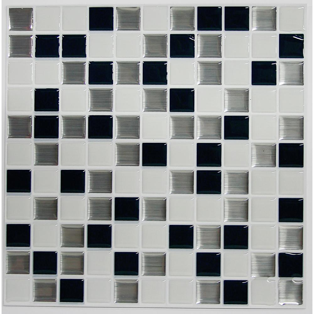 StickTILES by RoomMates TIL3227FLT Black & White Mosaic StickTILES™ - 4 Pack