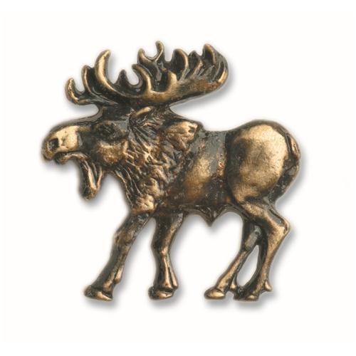 Buck Snort Lodge 002P WALKING MOOSE-LEFT FACE in Pewter