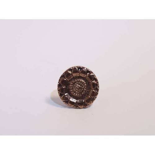 Emenee MK1029-ACO Home Classics Collection Button Sunflower 1-1/8 inch x 1-1/8 inch in Antique Matte Copper