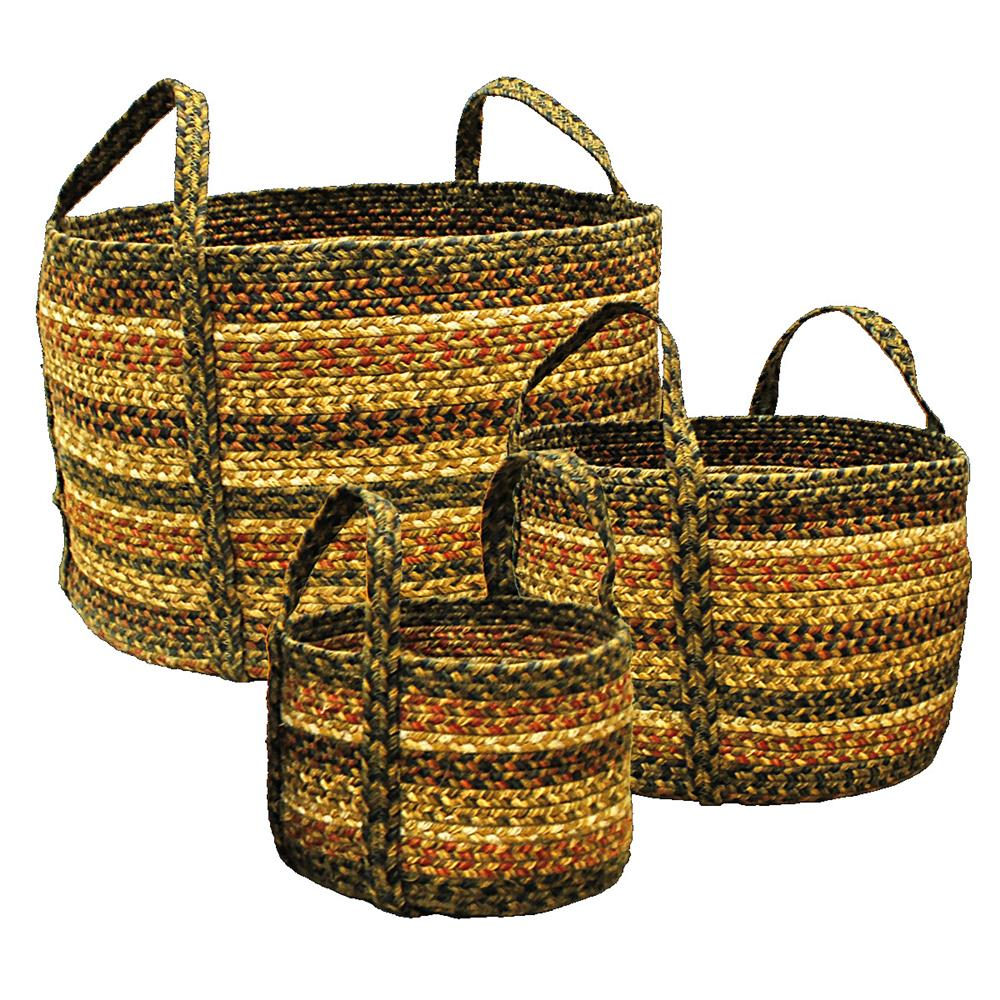 "Homespice Décor 575043 19"" x 19"" x 12"" Russet Jute Braided Basket"