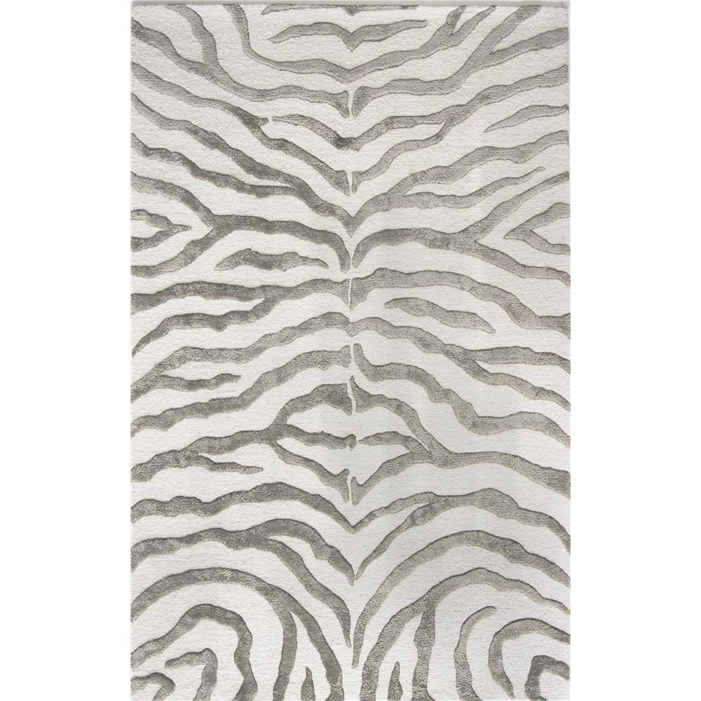 nuLOOM NUF5-305 Plush Zebra  Area Rug in Grey