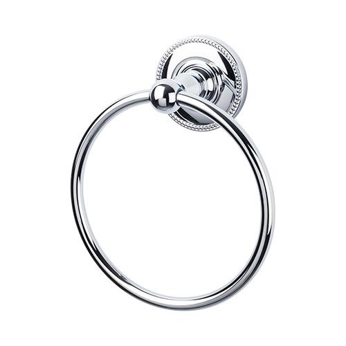 Top Knobs ED5PCA Edwardian Bath Ring - Polished Chrome - Beaded Back Plate